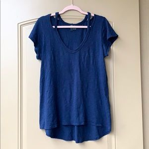 Navy blue short sleeve tee from Anthropologie